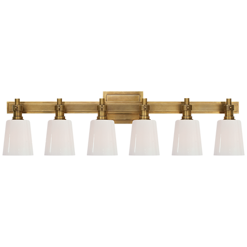 Bryant Six-Light Linear Bath Sconce in Antique Brass with White Glass