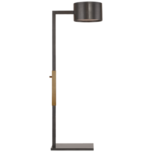 Larchmont Floor Lamp in Bronze and Antique- Burnished Brass with Frosted Glass