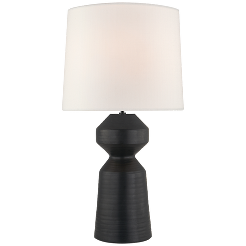 Nero Large Table Lamp in Matte Black with Linen Shade