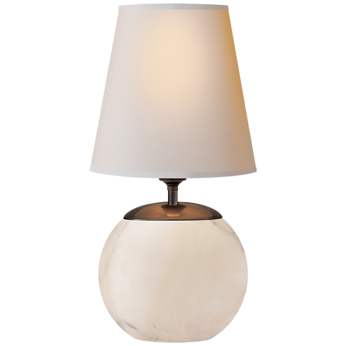 Terri Round Accent Lamp in Alabaster with Natural Paper Shade