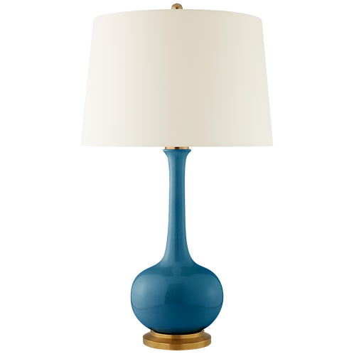 Coy Large Table Lamp in Aqua Crackle with Natural Percale Shade