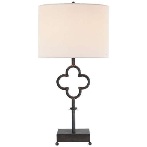 Quatrefoil Table Lamp in Aged Iron with Linen Shade