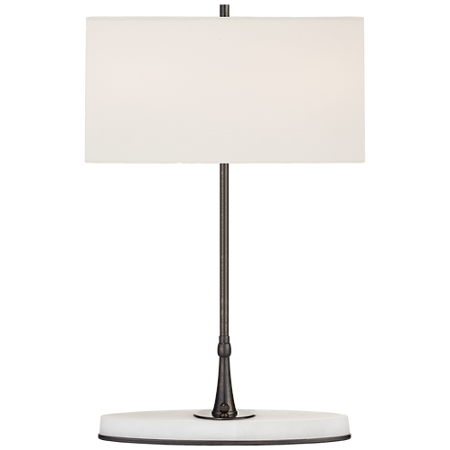 Casper Medium Table Lamp in Bronze and Alabaster with Linen Shade