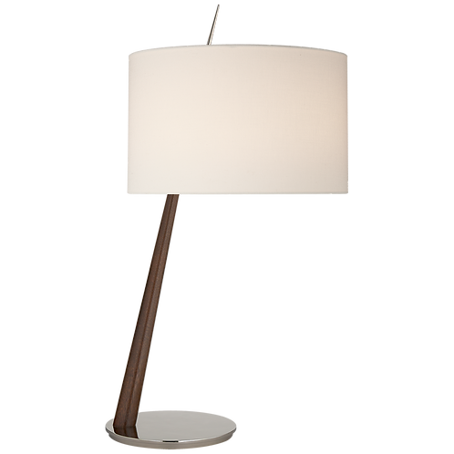 Stylus Large Angled Table Lamp in Dark Walnut and Polished Nickel with Linen Sha