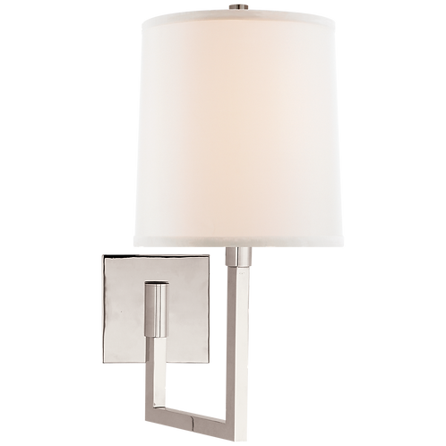 Aspect Small Articulating Sconce in Polished Nickel with Ivory Linen Shade
