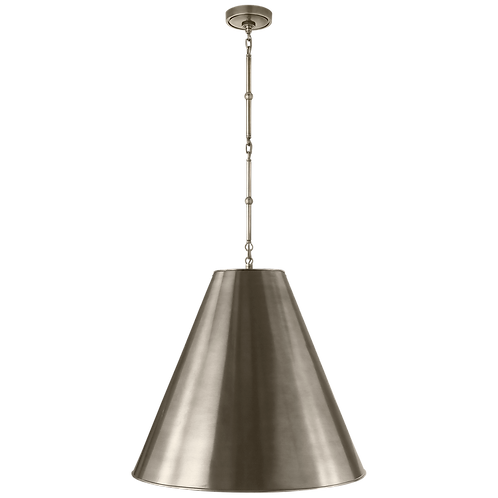 Goodman Large Hanging Lamp in Antique Nickel with Antique Nickel Shade
