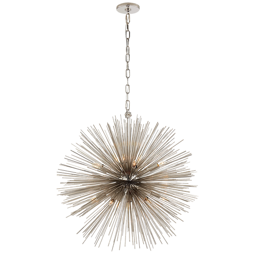 Strada Medium Round Chandelier in Polished Nickel