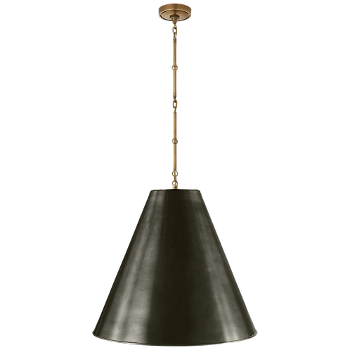 Goodman Large Hanging Lamp in Hand- Rubbed Antique Brass with Bronze Shade