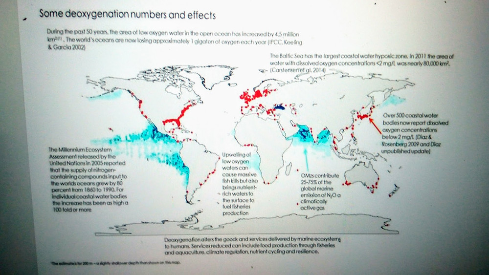 Some deoxygenation numbers and effects, Global Ocean Oxygen Network, global map of low oxygen coastal and deep ocean zones.