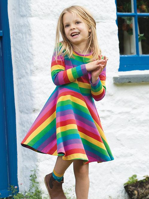 Frugi Sofia Skater Dress, Foxglove Rainbow Stripe