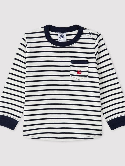 Petit Bateau White/Navy Stripe T Shirt
