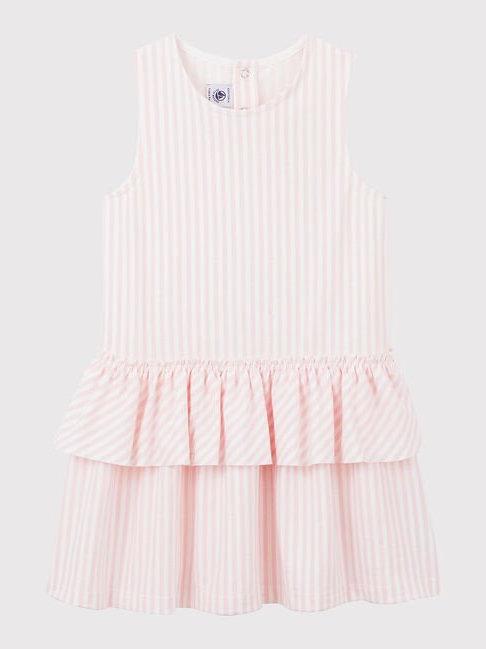 Petit Bateau Girl's Sleeveless Pink Stripe Jersey Dress