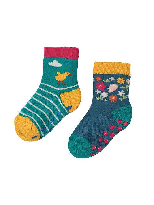 Frugi Grippy Socks, Duck Multipack