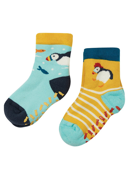 Frugi 2 Pack The National Trust Grippy Socks, Puffin