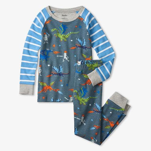 Hatley Knights and Dragons Organic Cotton Raglan Pyjama Set