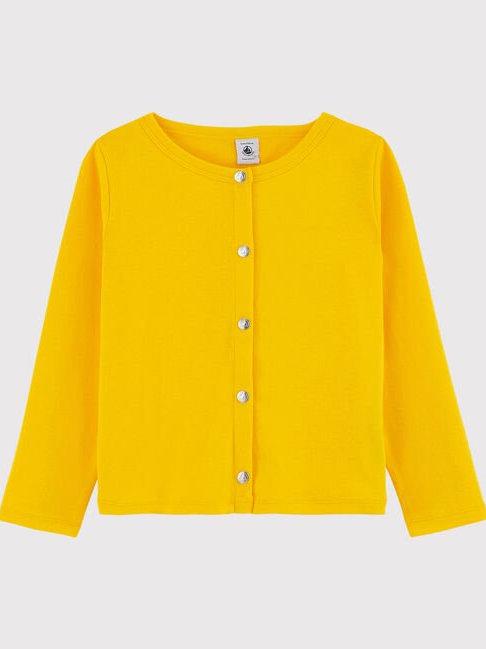 Petit Bateau Girls' Cotton Cardigan, Shine Yellow