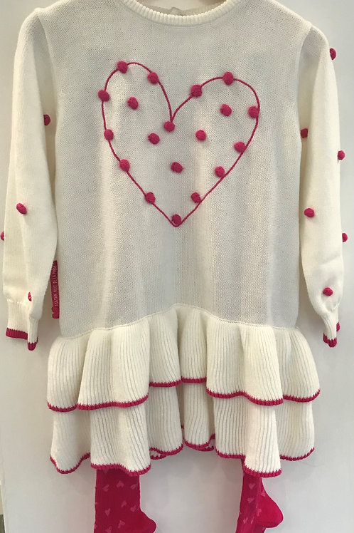 Agatha Ruiz De La Prada White Knit Heart Dress with Tights