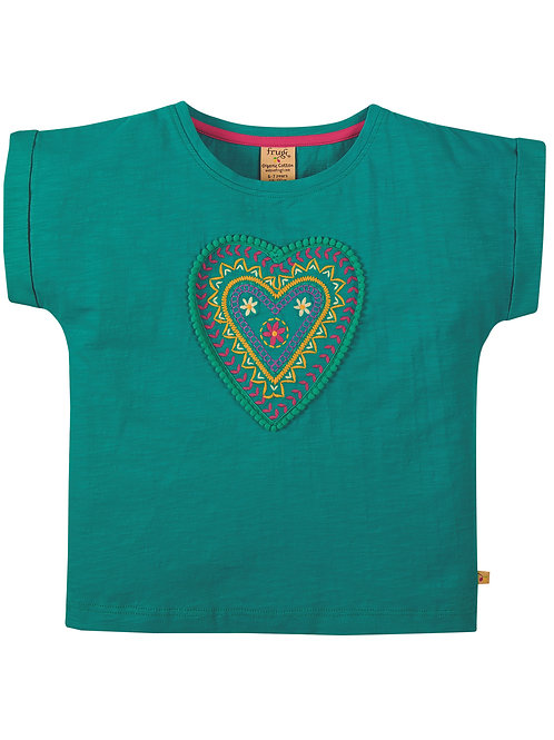 Frugi Sophia Slub T-Shirt, Jewel/Heart