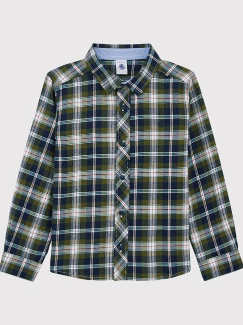 Petit Bateau Green Check Shirt