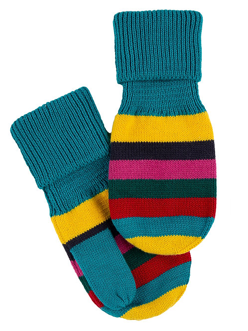 Frugi Merry Knitted Mittens, Tobermory Teal Stripe