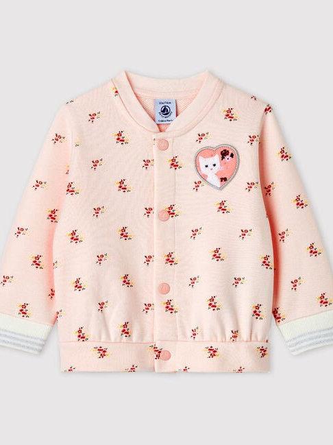 Petit Bateau Print Fleece Baseball Jacket