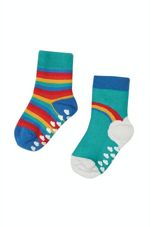 Frugi Grippy Socks, Pacific Aqua Rainbow