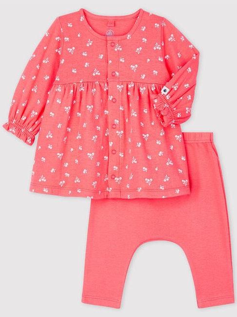 Petit Bateau Babies Organic Cotton Cherry Tube Knit Dress with Leggings