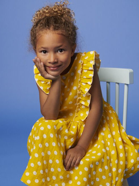 Petit Bateau Girl's Short-Sleeve Yellow Linen Dress