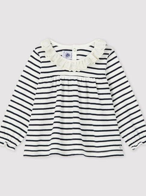 Petit Bateau  White/Navy Stripe Frill Collar T Shirt