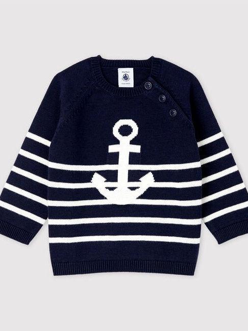 Petit Bateau Baby Boys Knit Cotton and Linen Blend Pullover