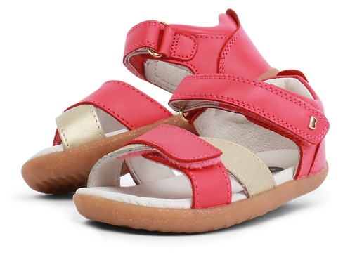 Bobux IW Sail Open Sandal, Strawberry + Gold