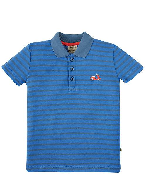 Frugi Porthmeor Polo Shirt, Cobalt Blue/Stripe