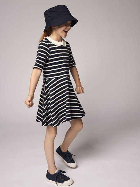 Petit Bateau Girls' Short-Sleeved Cotton Stripe Dress