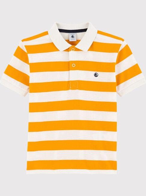 Petit Bateau Yellow Stripe Jersey Polo Shirt