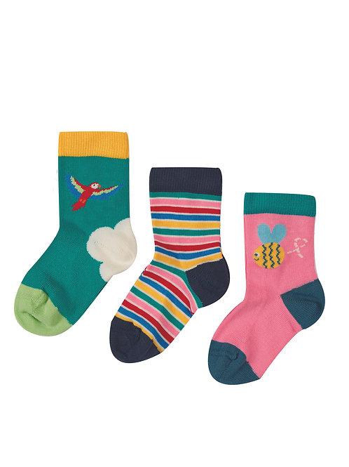 Frugi Little Socks, Bee Multipack