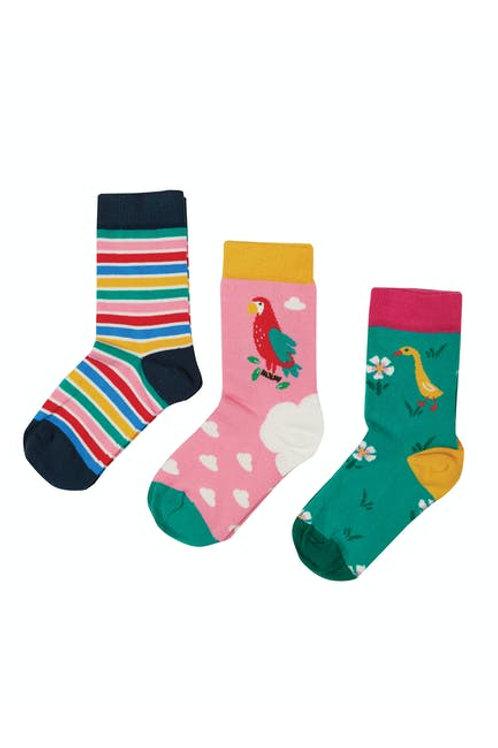 Frugi Rock My Socks 3 Pack, Mid Pink/Parrot