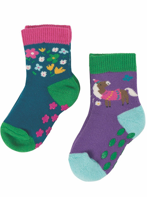 Frugi Grippy Socks 2 Pack Horse