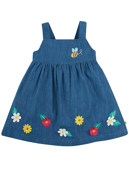 Frugi Hallie Linen Dress, India Ink/Flowers