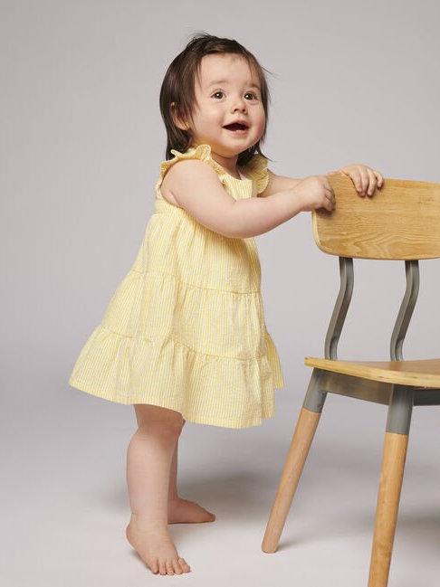 Petit Bateau Yellow Short-Sleeve Seersucker Dress