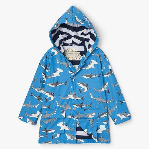 Hatley Deep Sea Sharks Colour Changing Raincoat