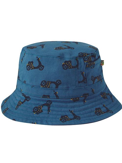 Frugi Ross Reversible Hat, Sea Blue/Bikes