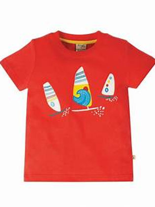 Frugi Stanley Appliqué T Shirt Koi Red Boats
