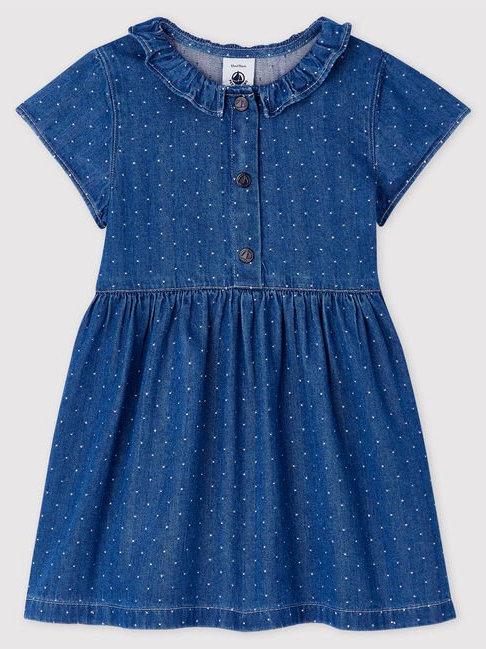 Petit Bateau Light Denim Spotted Dress
