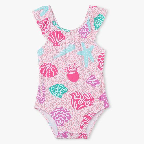 Hatley Abstract Sea Life Baby Ruffle Swimsuit