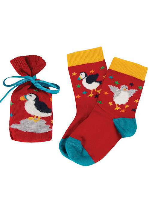 Frugi Super Socks in a Bag, Tango Red Puffin