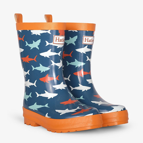 Hatley Great White Sharks Shiny Welly Boots