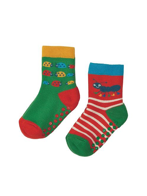 Frugi Grippy Socks, Ladybird Multipack