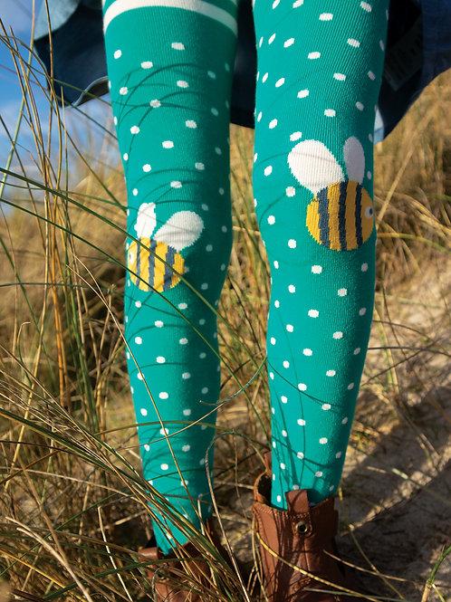 Frugi Fun Knee Tights, Jewel Spot/Bee