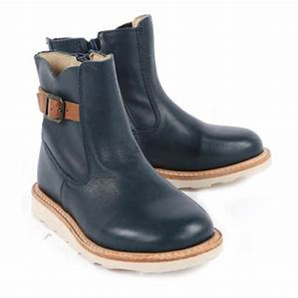 Young soles Vera Leather Ankle Boot Navy