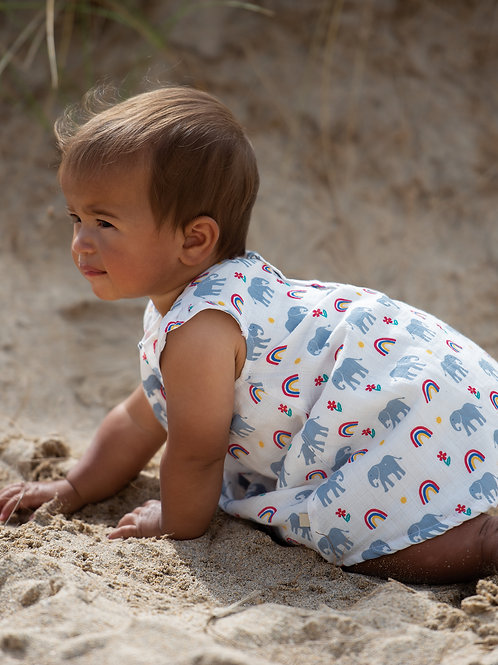 Frugi Dolly Muslin Outfit, Elephants